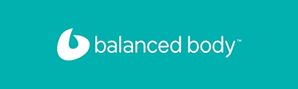 Balanced Body's white logo over a blue background. The brand is the leader in Pilates equipment.