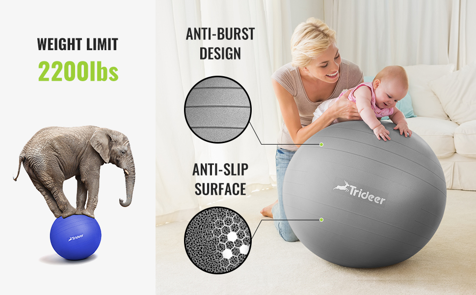 The birthing ball can help to ease back pains and labor pain