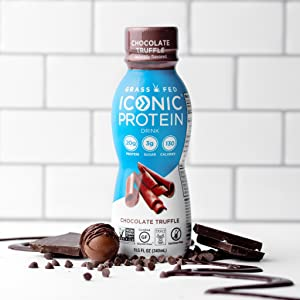 iconic protein chocolate truffle protein drink shake shakes low carb keto low sugar antioxidants
