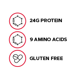 Includes 24g protein, 9 amino acids and is a gluten-free formula