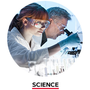 Two scientists looking under microscope. Science.