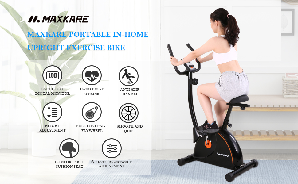MaxKare PORTABLE IN-HOME UPRIGHT EXERCISE BIKE