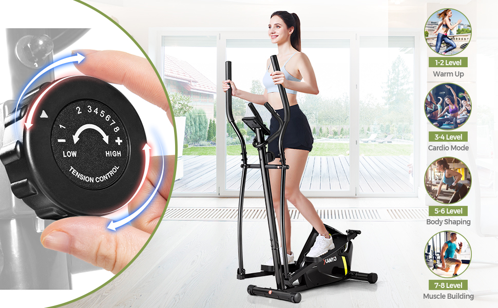 8 level adjustable resistance for different workout itensity